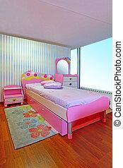 Pink girly bedroom - Small modern children girly pink ...