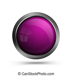Pink glass button isolated on white background.
