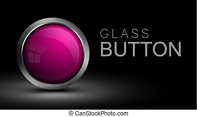 Pink glass round button for software interface.