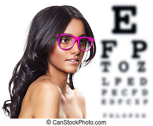 pink glasses on beautiful tanned woman. - beautiful tanned ...