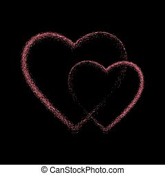 Pink glitter heart on black background.
