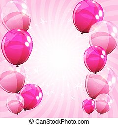 Pink Glossy Balloons Background Vector Illustration