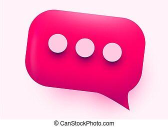 Pink glossy speech bubble illustration. Social network communication concept.