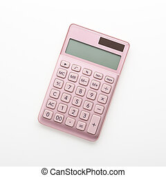 Pink gold calculator isolated on white background