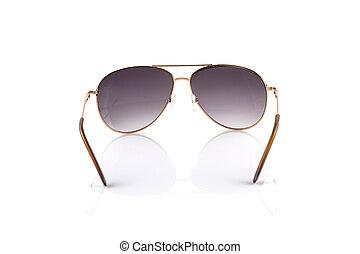 Pink gold Elegant sunglasses isolated on  white