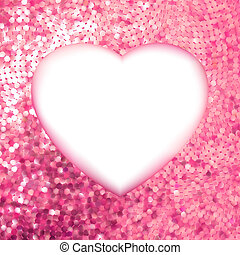 Pink Gold frame in the shape of heart. EPS 8