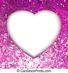 Pink Gold frame in the shape of heart. EPS 8 vector file included