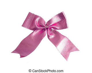 Pink Golden bow on a white background