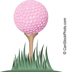 Pink Golf Ball on Tee - Tight ground level view point of a...