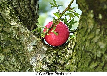 bad lie - pink golf in a tree very bad lie