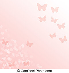 Pink gradient background with butterflies and hearts