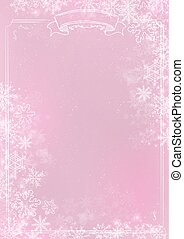 Pink gradient winter paper background with snowflake border