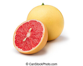 Pink grapefruit isolated on white. Large depth of field