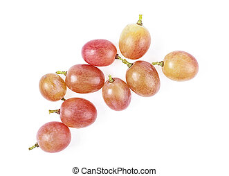 Pink grapes isolated on a white background, top view.