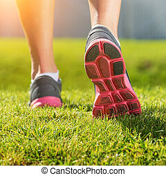 pink-gray, 細部, スポーツ, 動くこと, 足, 靴, 女性
