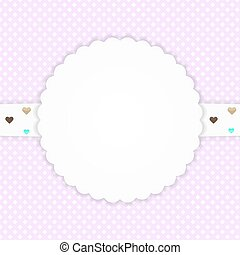 Pink greeting card with hearts