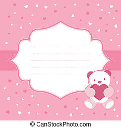Pink greeting card with teddy bear