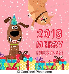 Pink greeting dog Christmas 2018 card