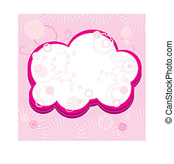 Pink greetings card with flowers, part 15,  vector illustration