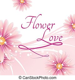 Pink Greetings Card With Lovely Flowers
