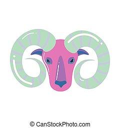 Pink grey color aries zodiac, modern design