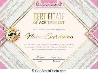 Pink grey grunge certificate template. Luxury pink marble with gold square for department cosmetic, parfume, stores, business