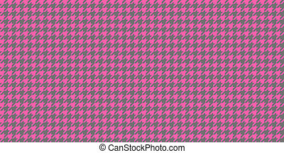 Pink Grey Seamless Houndstooth Pattern Background. Traditional Arab Texture. Fabric Textile Material.