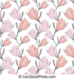 Pink Grey Vintage Magnolia Flowers Fabric Retro Repeating...