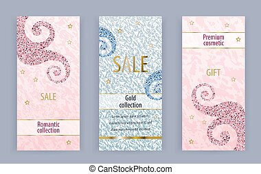 Pink grunge banners with pink blue curles. Business modern banner for 8 March, wedding, Mothers day, Valentines day.
