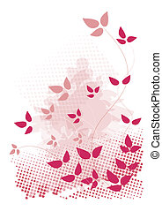 Pink, grunge design with leaves