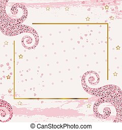 Pink grunge square background with pink curles. Business modern banner for 8 March, wedding, Mothers day, Valentines day.