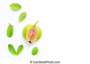 Pink guava with leaves on white background.