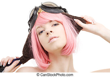 aviator - pink hair girl in aviator helmet over white