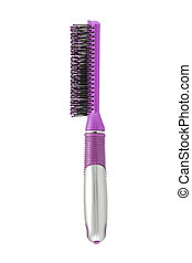 Pink hairbrush side view isolated on white with clipping path