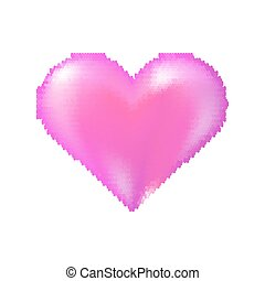 Pink Halftone Heart Icon Isolated on White Background