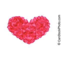 Pink hand-drawn watercolor heart isolated on white background for Valentines Day