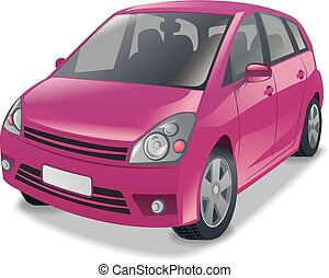 pink hatchback car - illustration of mini hatchback cars in...