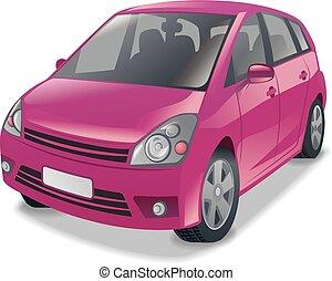pink hatchback car - illustration of mini hatchback cars in...