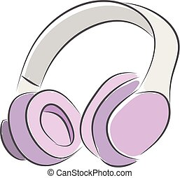 Pink headphones vector illustration on white background