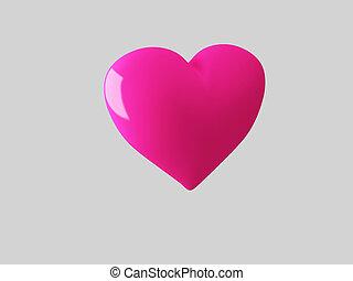 Pink heart, 3d render