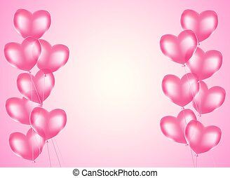 pink heart balloons horizontal background. vector design template