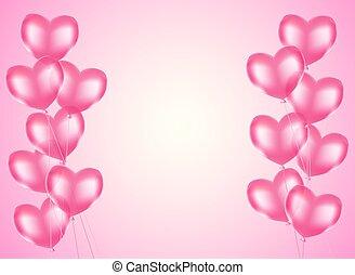 pink heart balloons horizontal background. vector design template