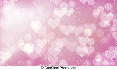 pink heart bokeh lights and stars. computer generated...