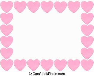 pink heart border isolated