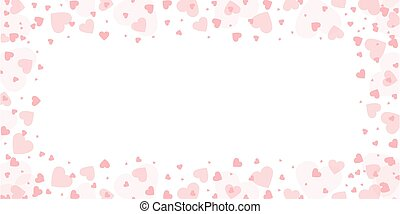 pink heart border on white background for wedding and valentines day