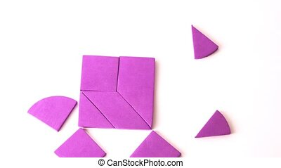 Pink heart breaks up on different geometrical figures, time...