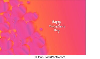 Pink heart colorful neon figures, Valentine's day greeting Banner