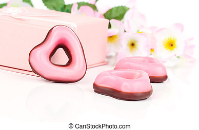 pink heart cookies for valentines day, on white background