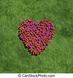pink heart create by flowers with grass