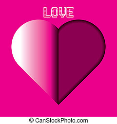 Pink Heart cut out of paper